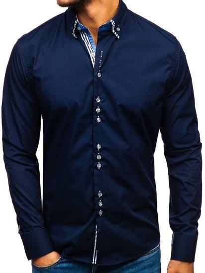 Koszula męska elegancka z długim rękawem granatowa Bolf 4703