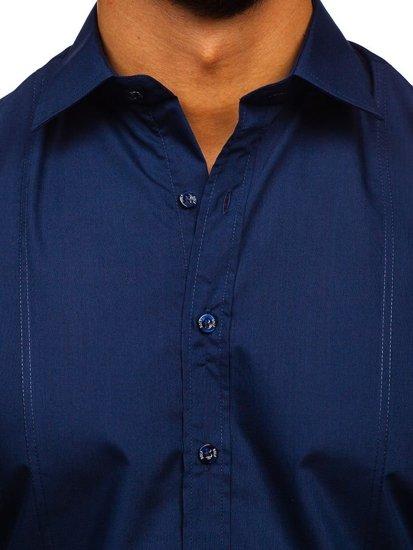 Koszula męska elegancka z długim rękawem granatowa Bolf 4705G
