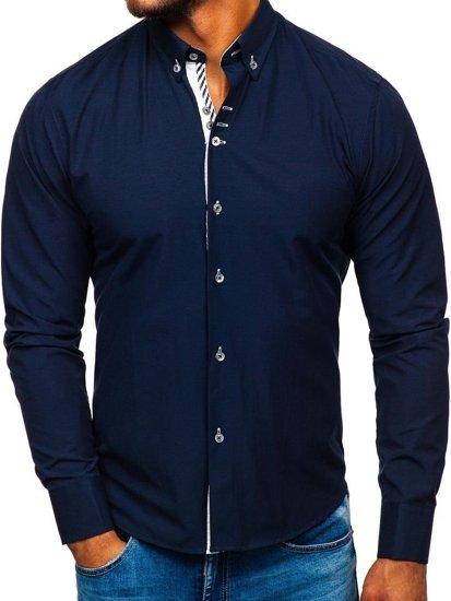 Koszula męska elegancka z długim rękawem granatowa Bolf 5796-1
