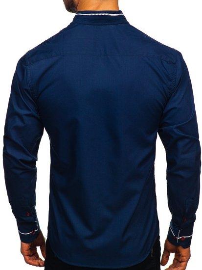 Koszula męska elegancka z długim rękawem granatowa Bolf 5826