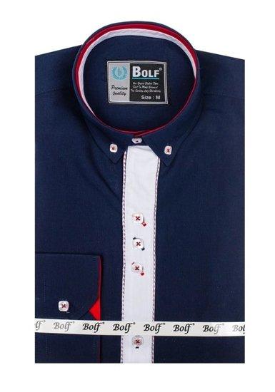 Koszula męska elegancka z długim rękawem granatowa Bolf 5827-1