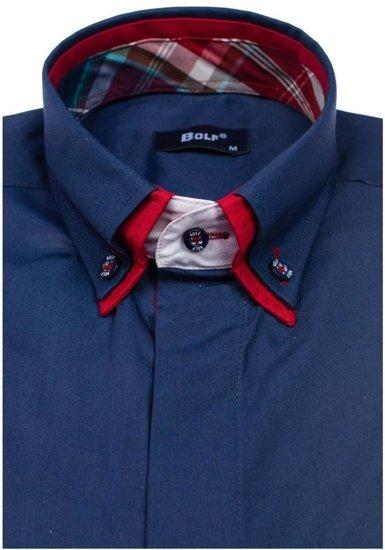 Koszula męska elegancka z długim rękawem granatowa Bolf 6895