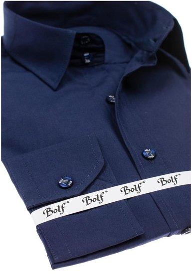Koszula męska elegancka z długim rękawem granatowa Bolf 6928