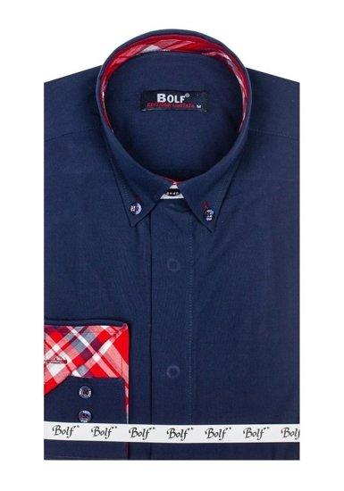 Koszula męska elegancka z długim rękawem granatowa Bolf 6930