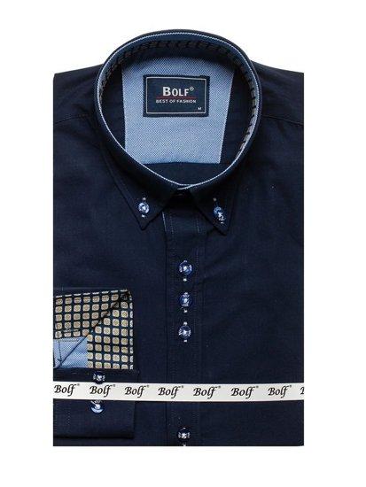 Koszula męska elegancka z długim rękawem granatowa Bolf 8840