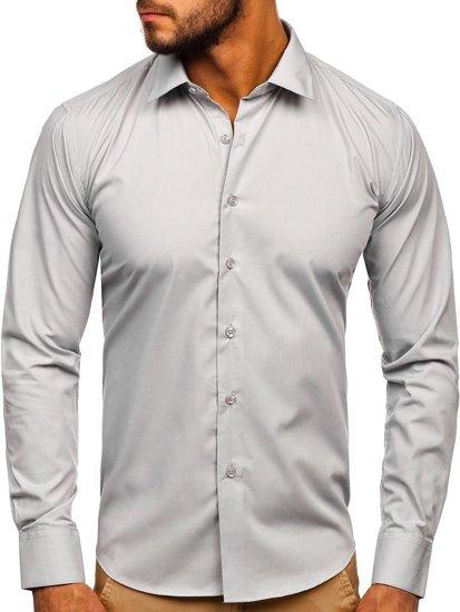 Koszula męska elegancka z długim rękawem jasnoszara Denley 0001