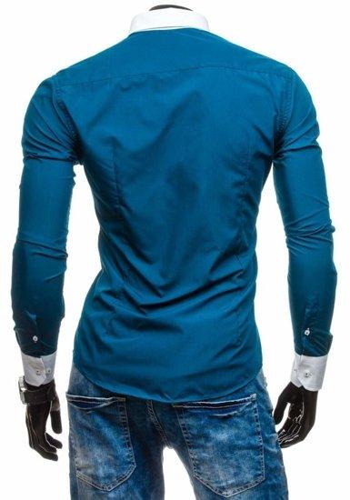 Koszula męska elegancka z długim rękawem morska Bolf 5798