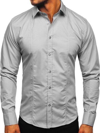 Koszula męska elegancka z długim rękawem szara Bolf 6944