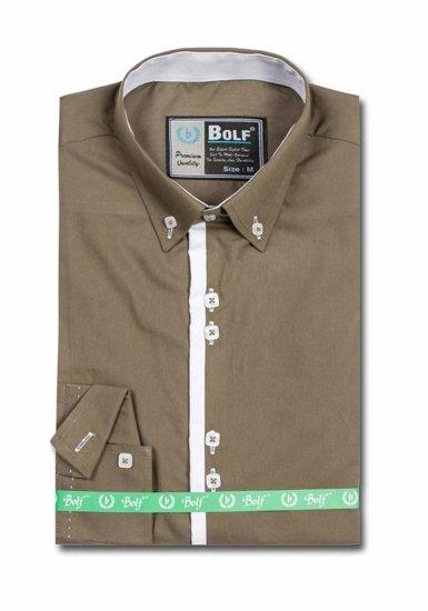 Koszula męska elegancka z długim rękawem zielona Bolf 5797