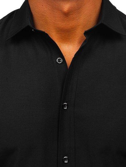 Koszula męska elegancka z krótkim rękawem czarny Bolf 7501
