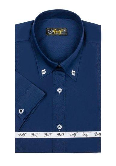 Koszula męska elegancka z krótkim rękawem granatowa Bolf 5535