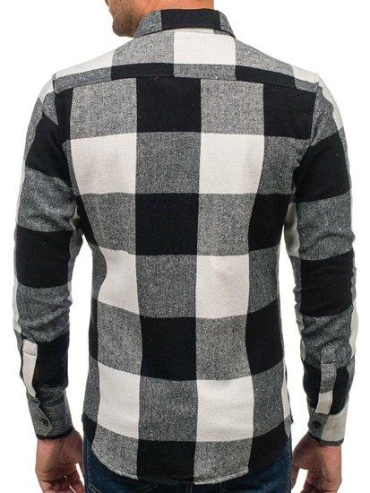 Koszula męska flanelowa z długim rękawem czarna Bolf 801