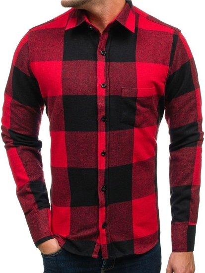 Koszula męska flanelowa z długim rękawem czerwona Bolf 801