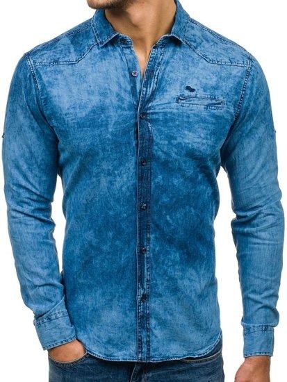 Koszula męska jeansowa z długim rękawem granatowo-niebieska Denley 702