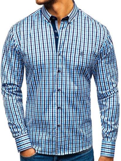 Koszula męska w kratę vichy z długim rękawem błękitna Bolf 4712