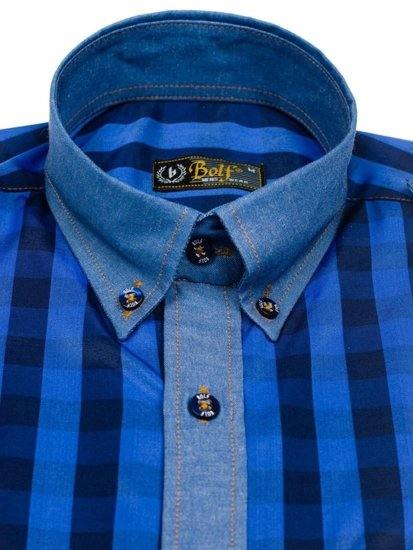 Koszula męska w kratę z długim rękawem chabrowa Bolf 7704