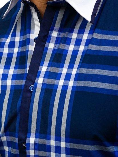 Koszula męska w kratę z długim rękawem granatowa Bolf 6960
