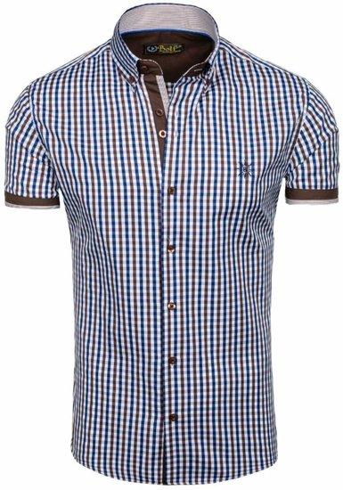 Koszula męska w kratę z krótkim rękawem brązowa Bolf 4510