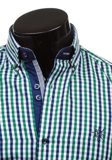 Koszula męska w kratę z krótkim rękawem zielona Bolf 4510