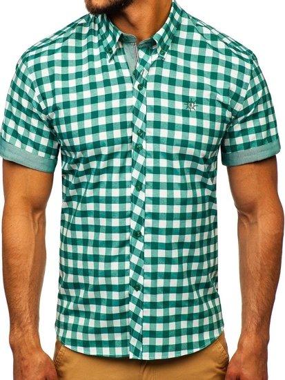 Koszula męska w kratę z krótkim rękawem zielona Bolf 6522
