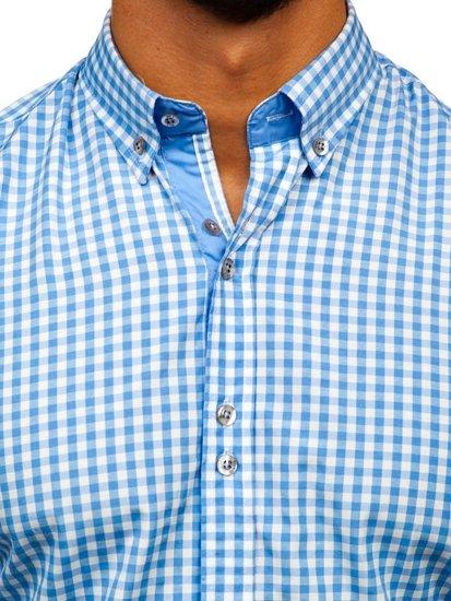 Koszula męska w kratkę z długim rękawem błękitna Bolf 9712