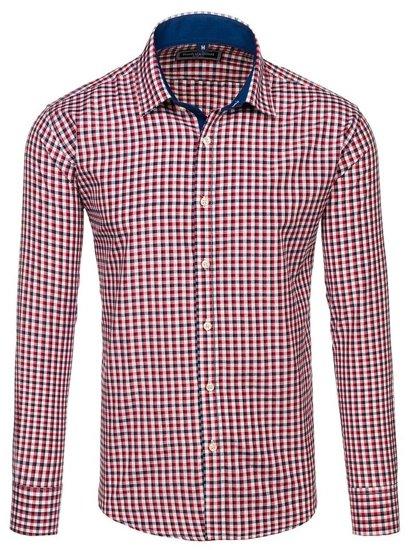 Koszula męska w kratkę z długim rękawem granatowo-czerwona Denley GET10