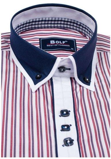Koszula męska w paski z długim rękawem czerwona Bolf 6884