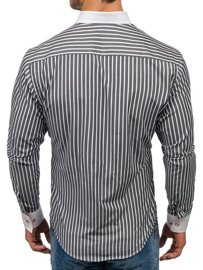Koszula męska w paski z długim rękawem grafitowa Bolf 1771