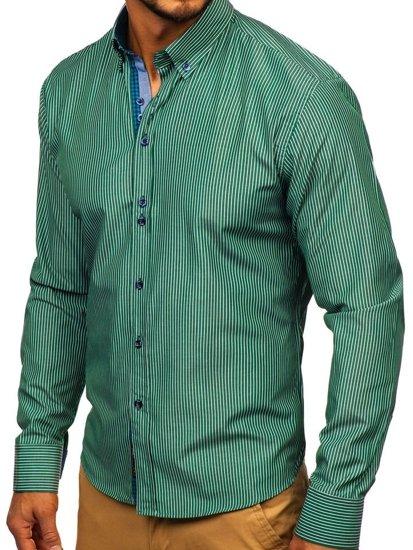 Koszula męska w paski z długim rękawem zielona Bolf 9714