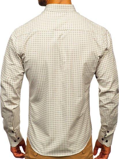 Koszula męska we wzory z długim rękawem beżowa Bolf 9708