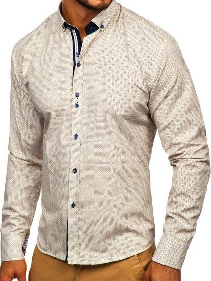 Koszula męska we wzory z długim rękawem beżowa Bolf 9710