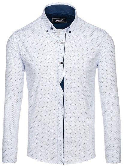 Koszula męska we wzory z długim rękawem biała Bolf 7716