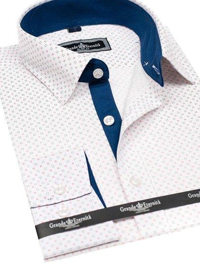 Koszula męska we wzory z długim rękawem biała Denley GE1012