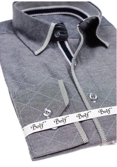 Koszula męska we wzory z długim rękawem grafitowa Bolf 1692