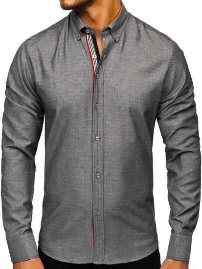 Koszula męska we wzory z długim rękawem grafitowa Bolf 8843