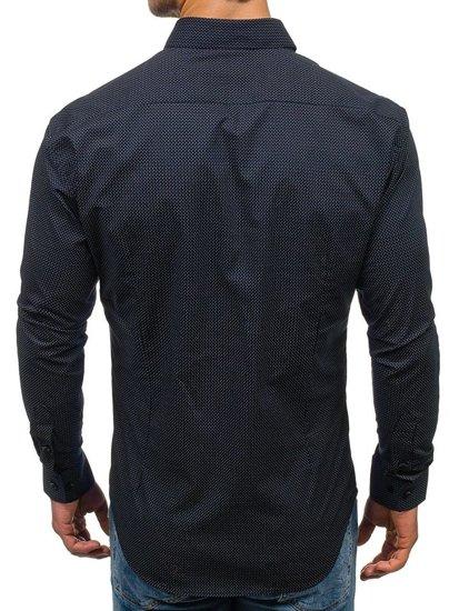 Koszula męska we wzory z długim rękawem granatowo-khaki Denley GE1018