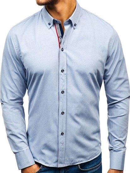 Koszula męska we wzory z długim rękawem szara Bolf 8843  ZU9aL