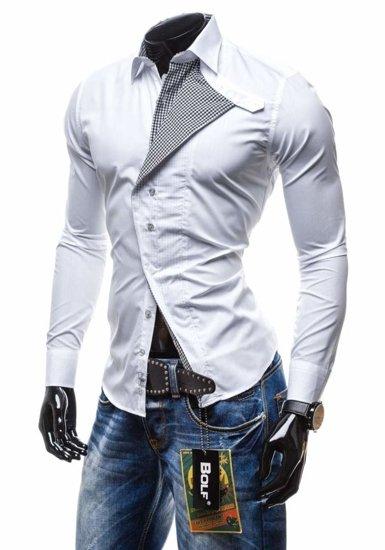 Koszula męska z długim rękawem biała Bolf 5746
