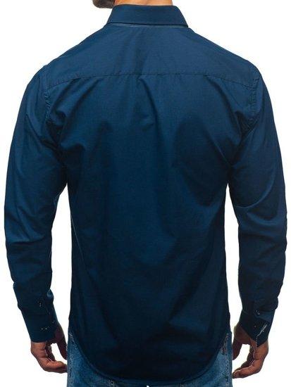 Koszula męska z długim rękawem granatowa Bolf 2774