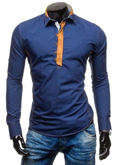 Koszula męska z długim rękawem granatowa Bolf 5783