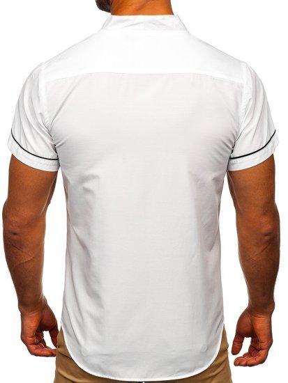 Koszula męska z krótkim rękawem biała Bolf 5518