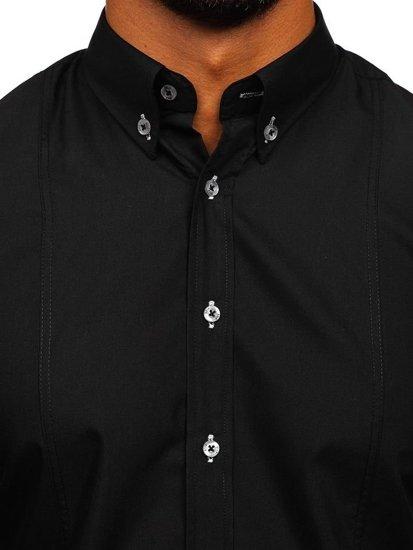 Koszula męska z krótkim rękawem czarna Bolf 5528