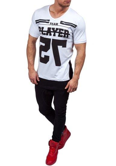 Koszulka męska z nadrukiem w serek biała Denley 3584