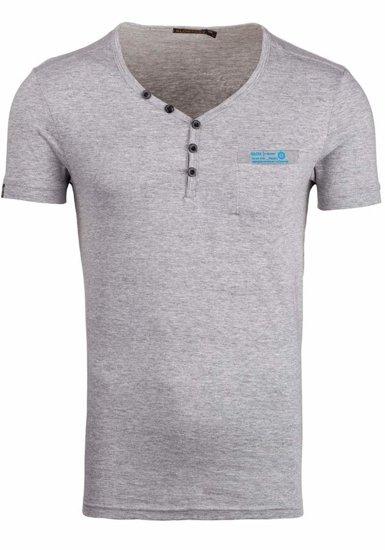 Koszulka męska z nadrukiem w serek szara Denley 6152