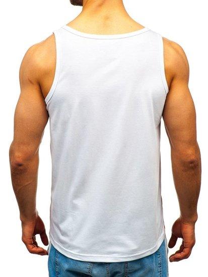Koszulka tank top męska z nadrukiem biała Denley 100760