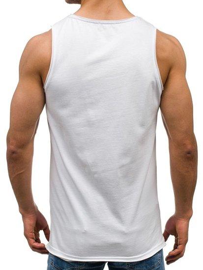 Koszulka tank top męska z nadrukiem biała Denley 1053