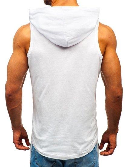 Koszulka tank top męska z nadrukiem i kapturem biała Bolf 1280