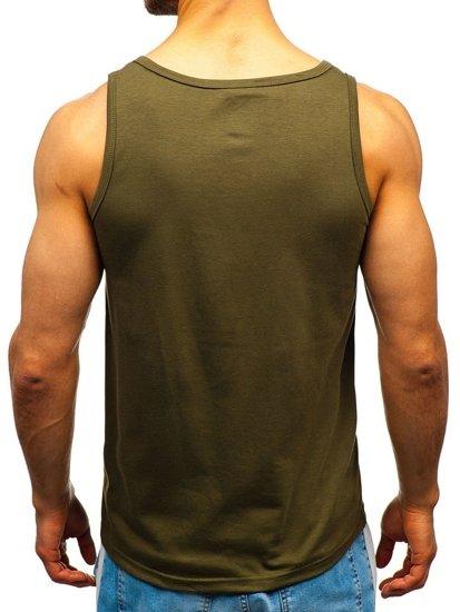 Koszulka tank top męska z nadrukiem zielona Denley 100755