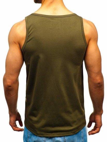 Koszulka tank top z nadrukiem zielona Denley 100766