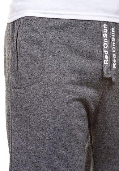 Krótkie spodenki dresowe męskie czarne Denley 2189
